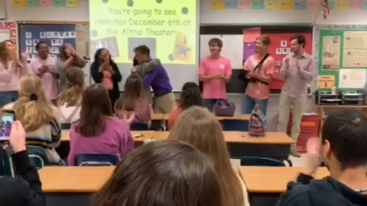 Students serenade Chesterfield teacher, surprises him with Hamilton tickets
