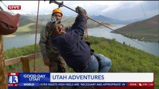 Budah tackles the 'Screaming Falcon' zipline at Deer Creek StatePark