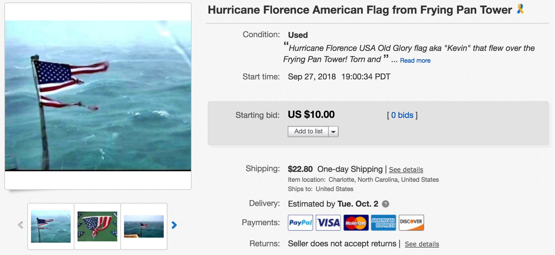 Photos: Famous flag on Facebook Live during Hurricane Florence to be sold atauction