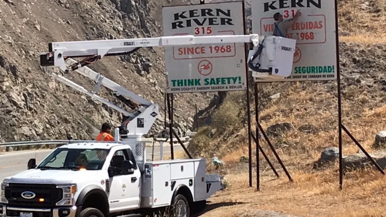 Kern River Deaths Sign Update