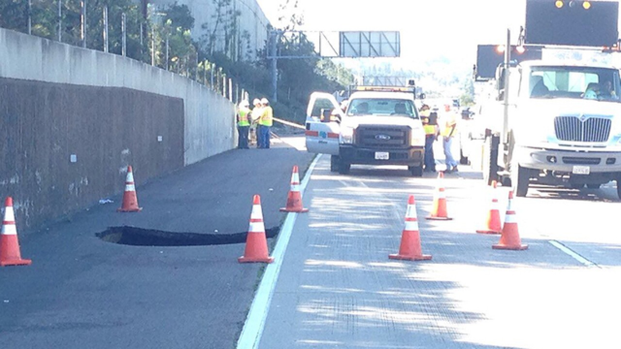 Sinkhole opens off I-8 in College Area