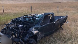 Courtesy  MHP: Truck totaled near Wolf Creek