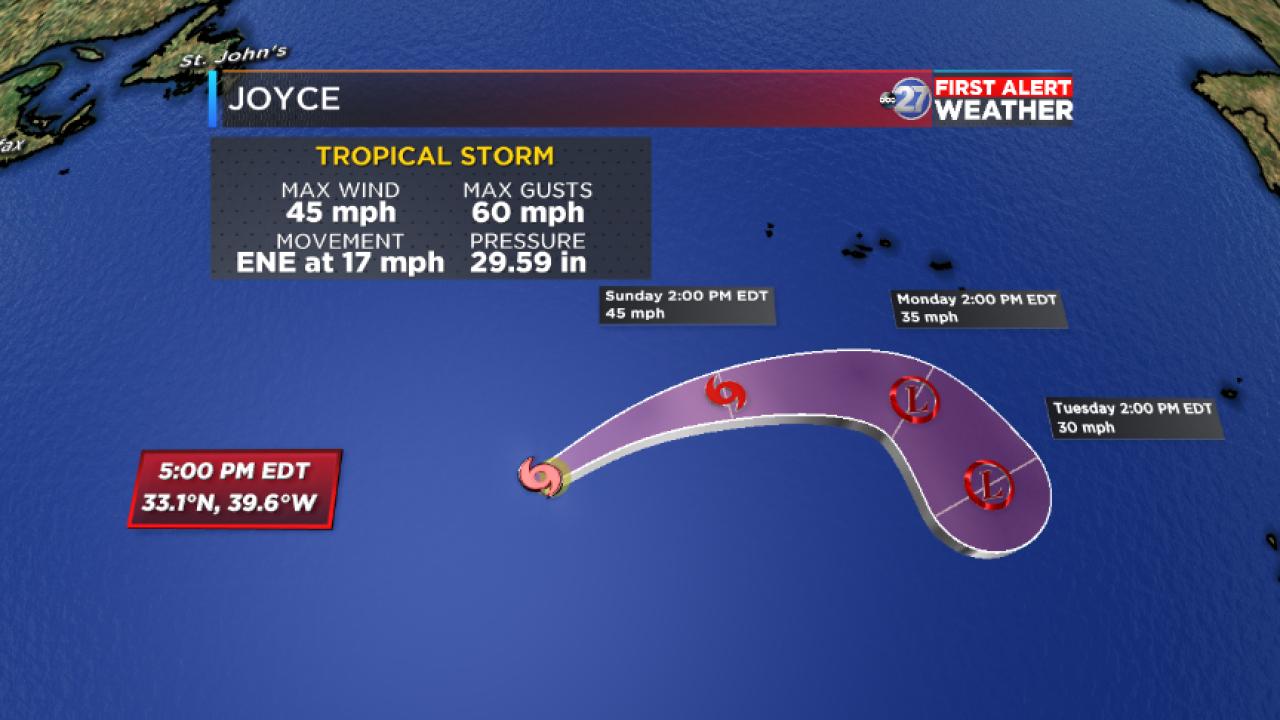 Tropical Storm Joyce track (09/15/2018)