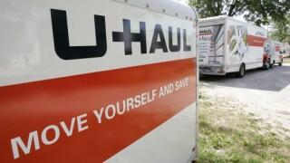 UHaul trucks with orange striping