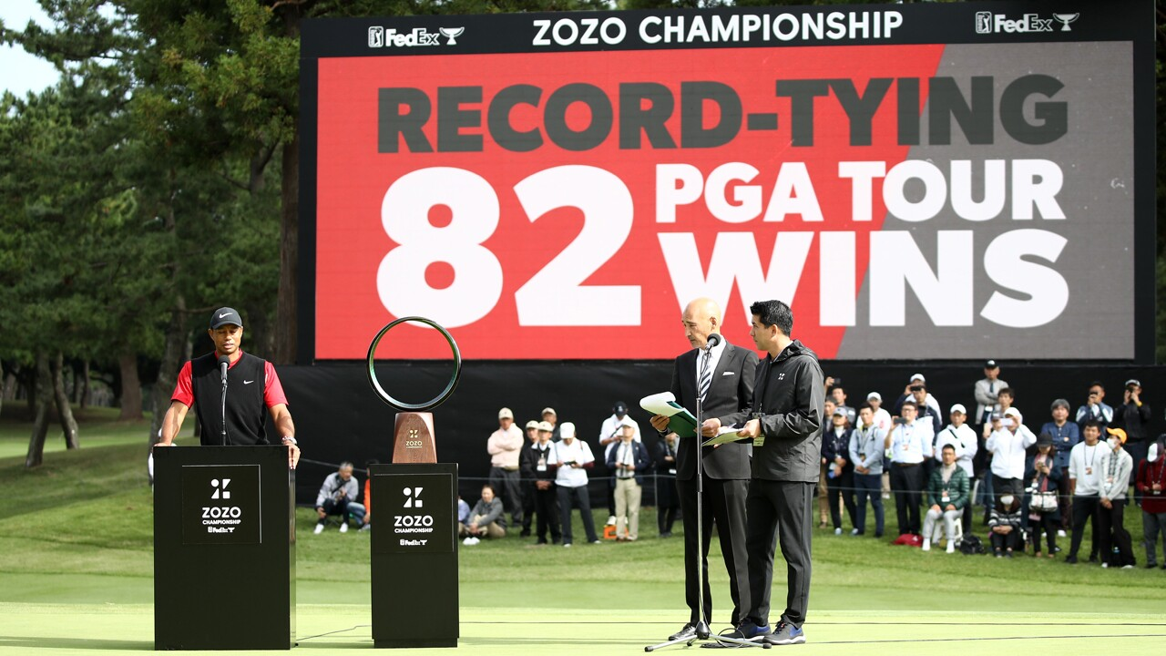 Tiger Woods of the United States speaks at the award ceremony following the final round of the Zozo Championship at Accordia Golf Narashino Country Club on October 28, 2019 in Inzai, Chiba, Japan.