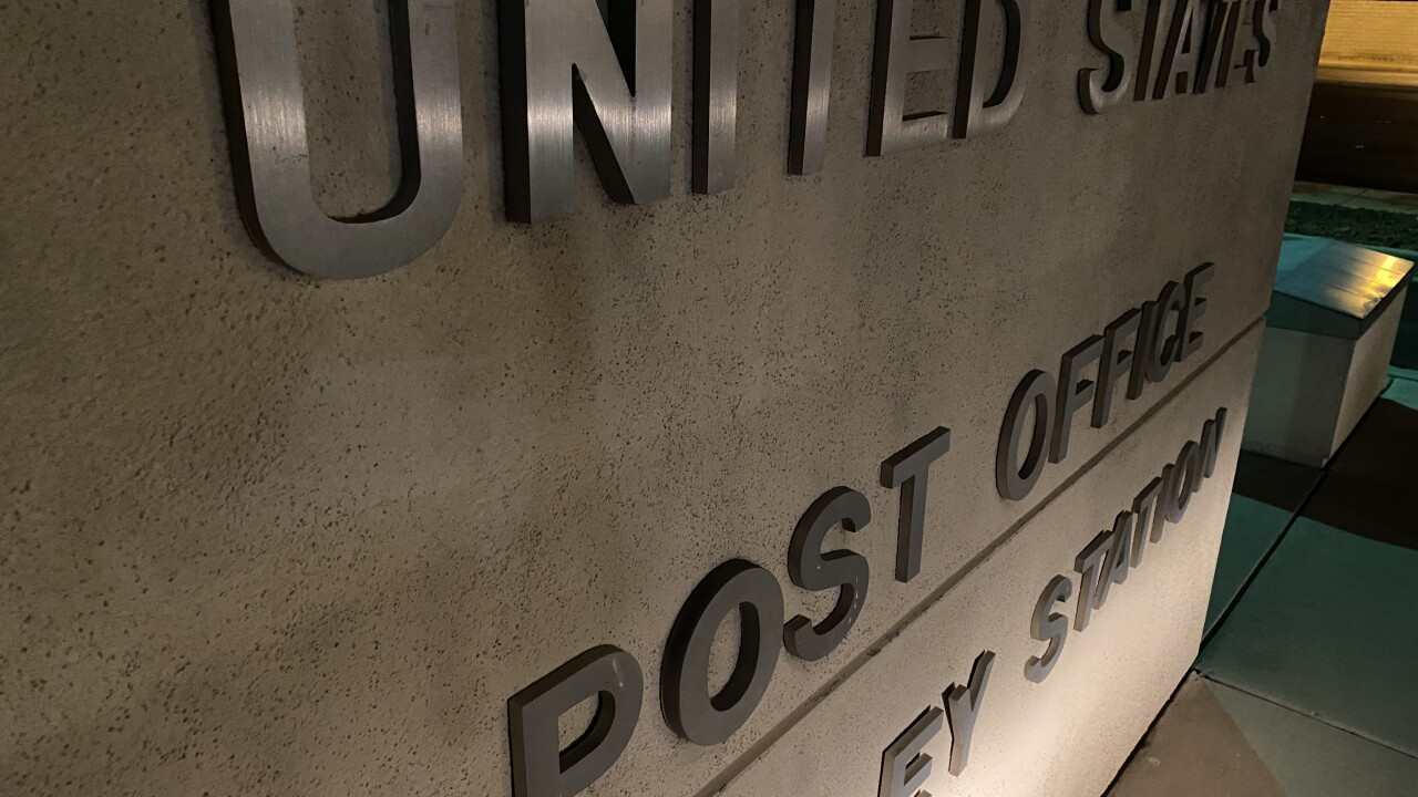 These are photos of some United States Post Office collection boxes at a location in Las Vegas as seen in Sept. 2020