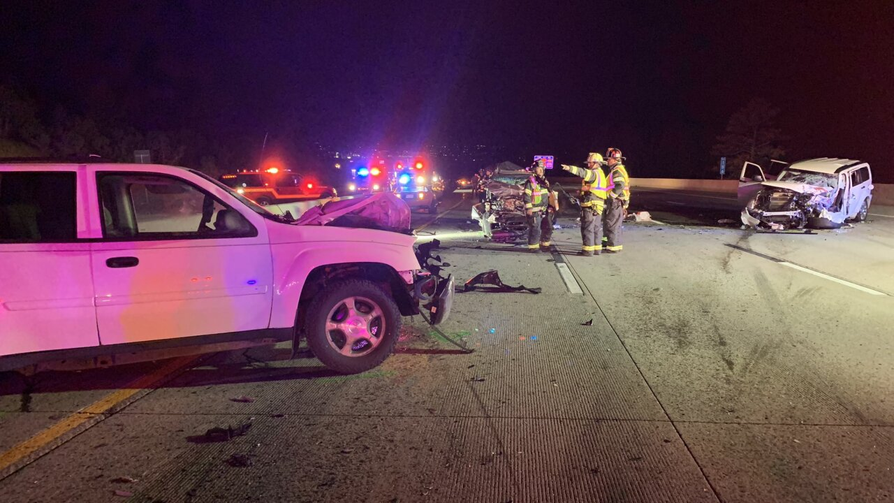 One dead, several injured in multi-vehicle crash on I-25 south of Happy Canyon Road