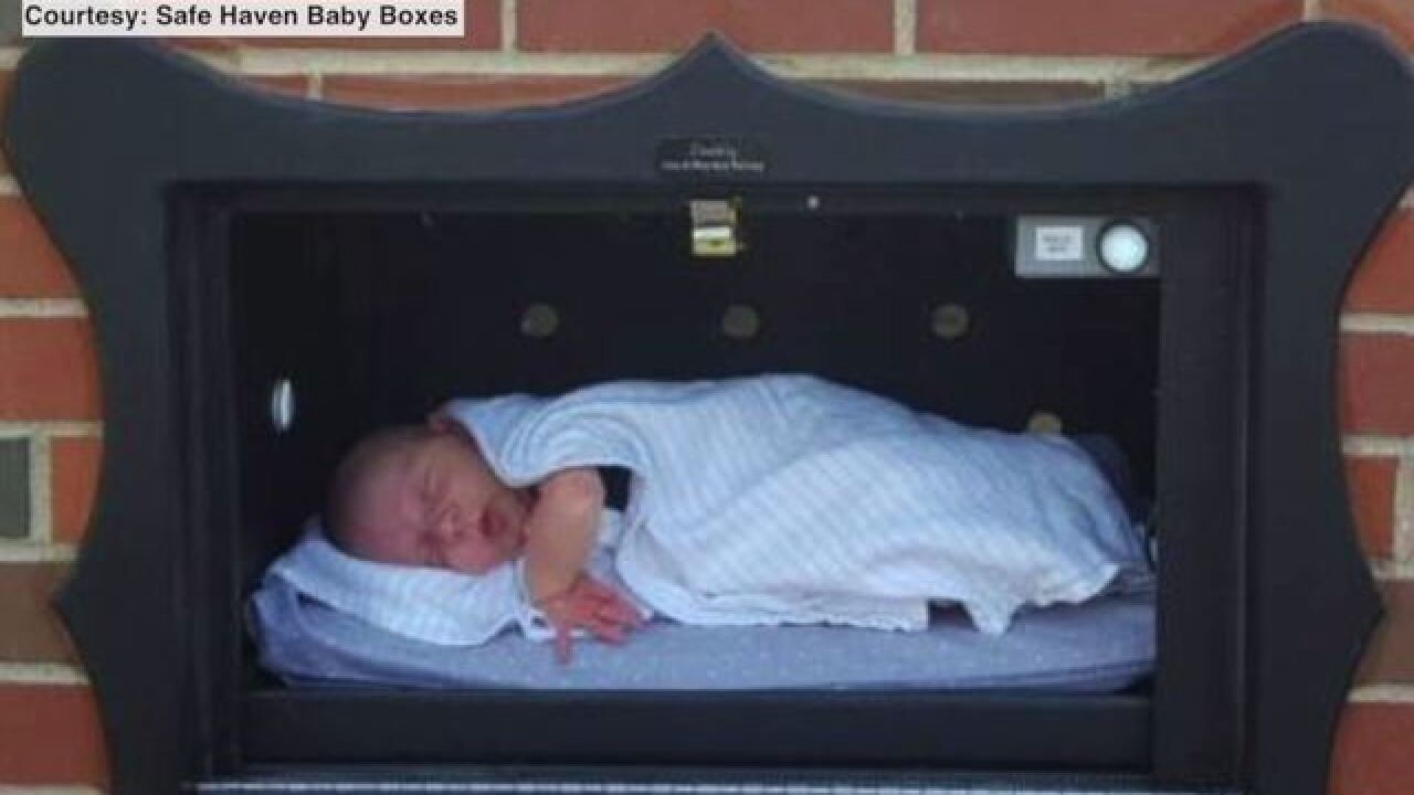 Infant left in baby box outside fire dept. safe