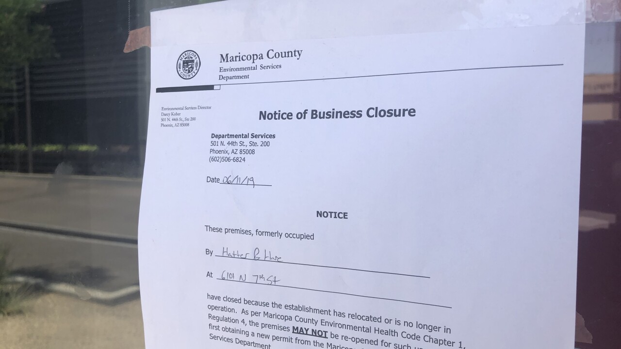 Hatter and Hare Notice of Business Closure
