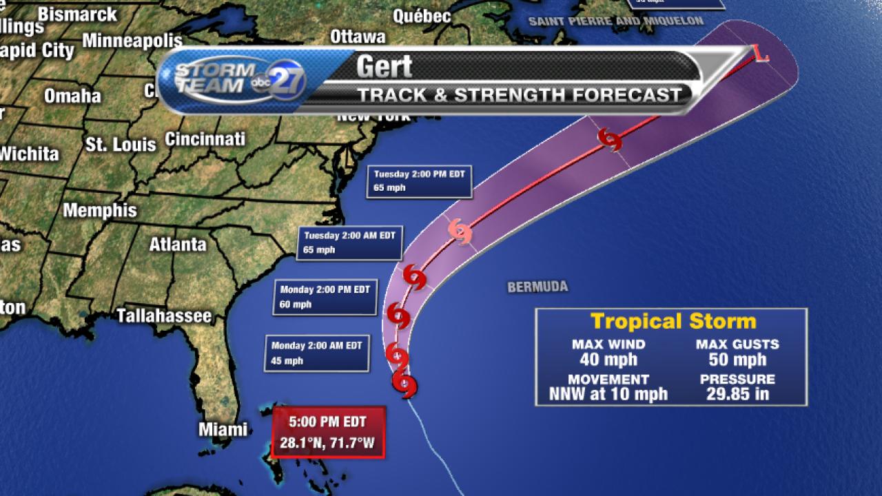 Tropical Storm Gert forecast track