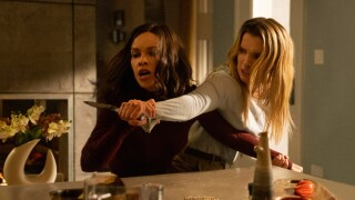 Hillary Swank and Betty Gilpin in 'The Hunt'