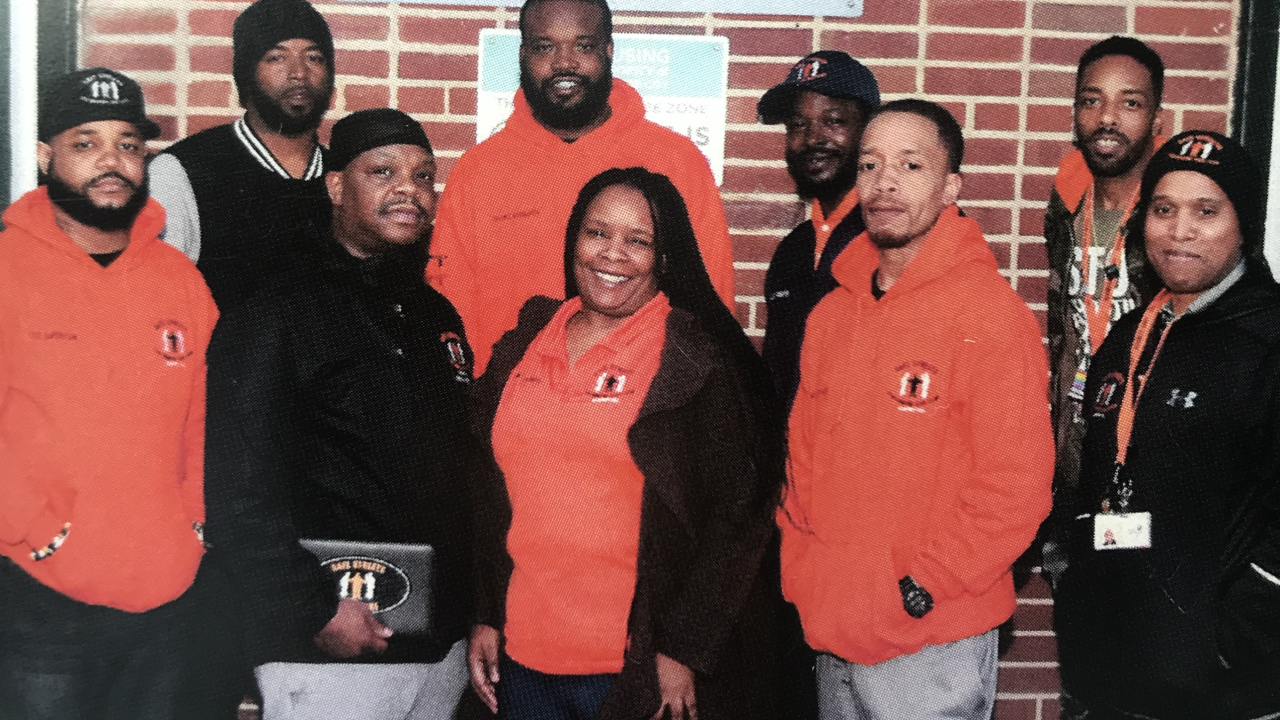 Kenyell Wilson is pictured (back row second from right wearing hat) with the Safe Streets Cherry Hill Outreach Team