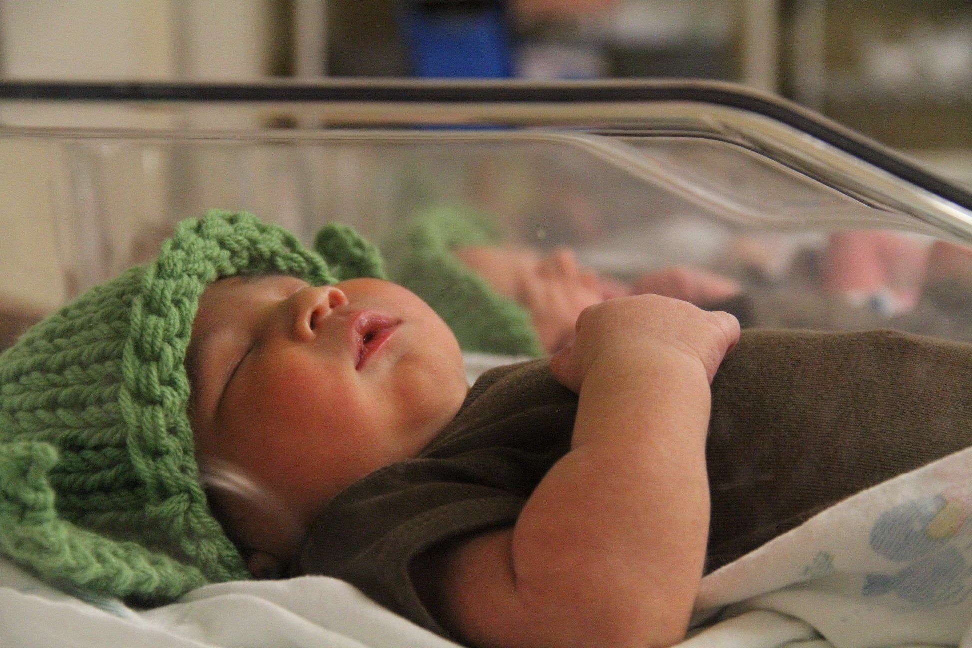 Newborns at Franciscan Health in Indianapolis donned 'Baby Yoda' hats in honor of the release of the newest Star Wars movie.