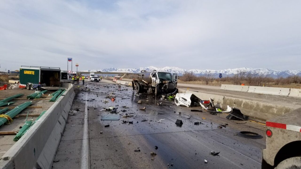 Two injured after tanker servicing portable toilets collides with commercial vehicle on I-80