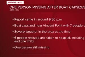 One person missing after boat capsizes in Green Bay