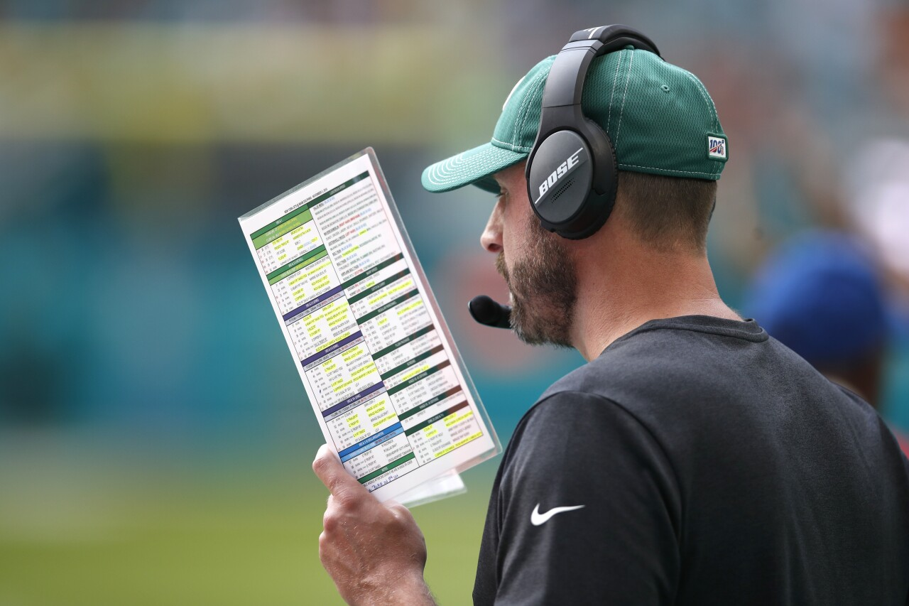 New York Jets head coach Adam Gase during game against Miami Dolphins at Hard Rock Stadium in 2019