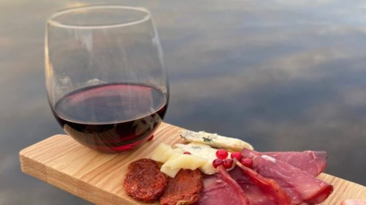 This Mini Charcuterie Board For One Has A Built-in Wine Glass Holder
