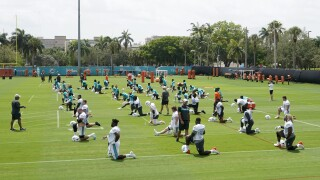 Miami Dolphins players stretch during mandatory minicamp, June 15, 2021