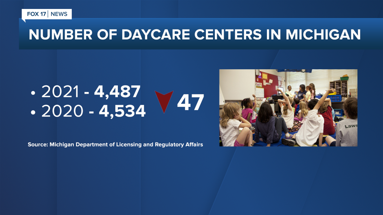 Number of Daycare Centers in Michigan