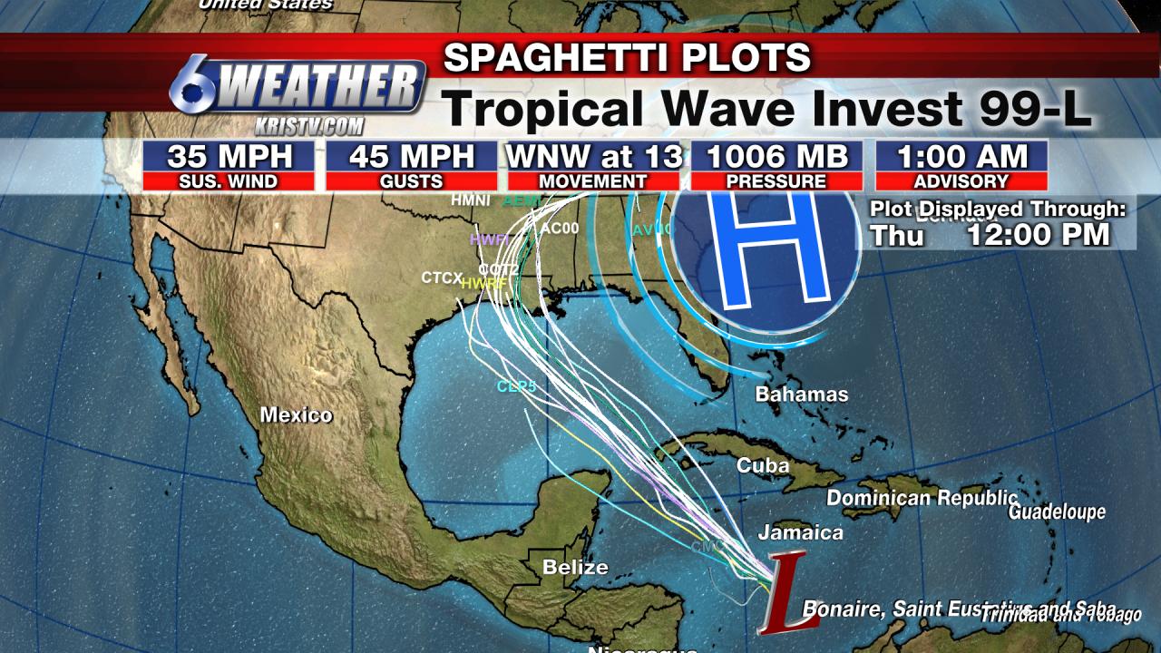 Tropical Wave Invest 99-L Forecast Models