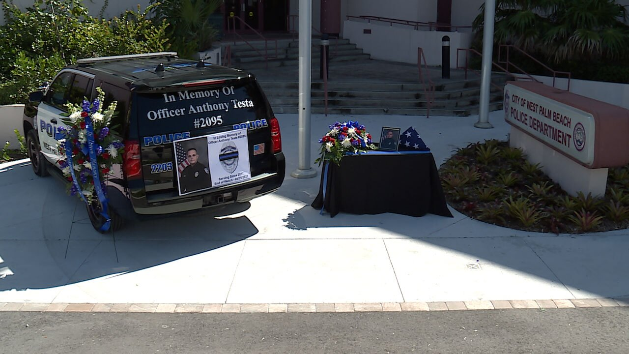 Anthony Testa memorial outside West Palm Beach Police Department on Sept. 27, 2021