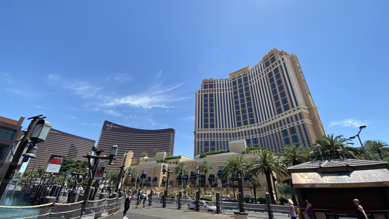 The Palazzo Hotel and Casino is located on the Las Vegas Strip as seen in May 2021.