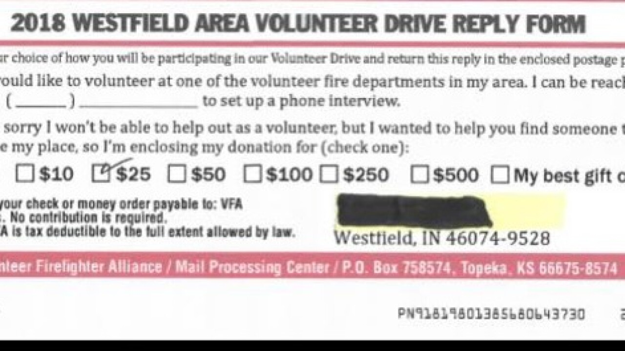 Westfield Fire Dept. warning of possible scam being mailed to people