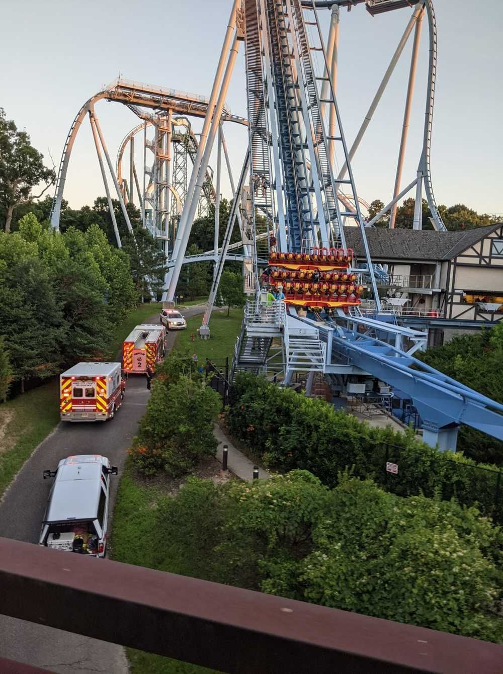 Fire/EMS crews respond to the Griffon after it stopped during the ride Tuesday, June 29