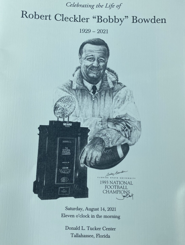 Cover of Bobby Bowden memorial service program