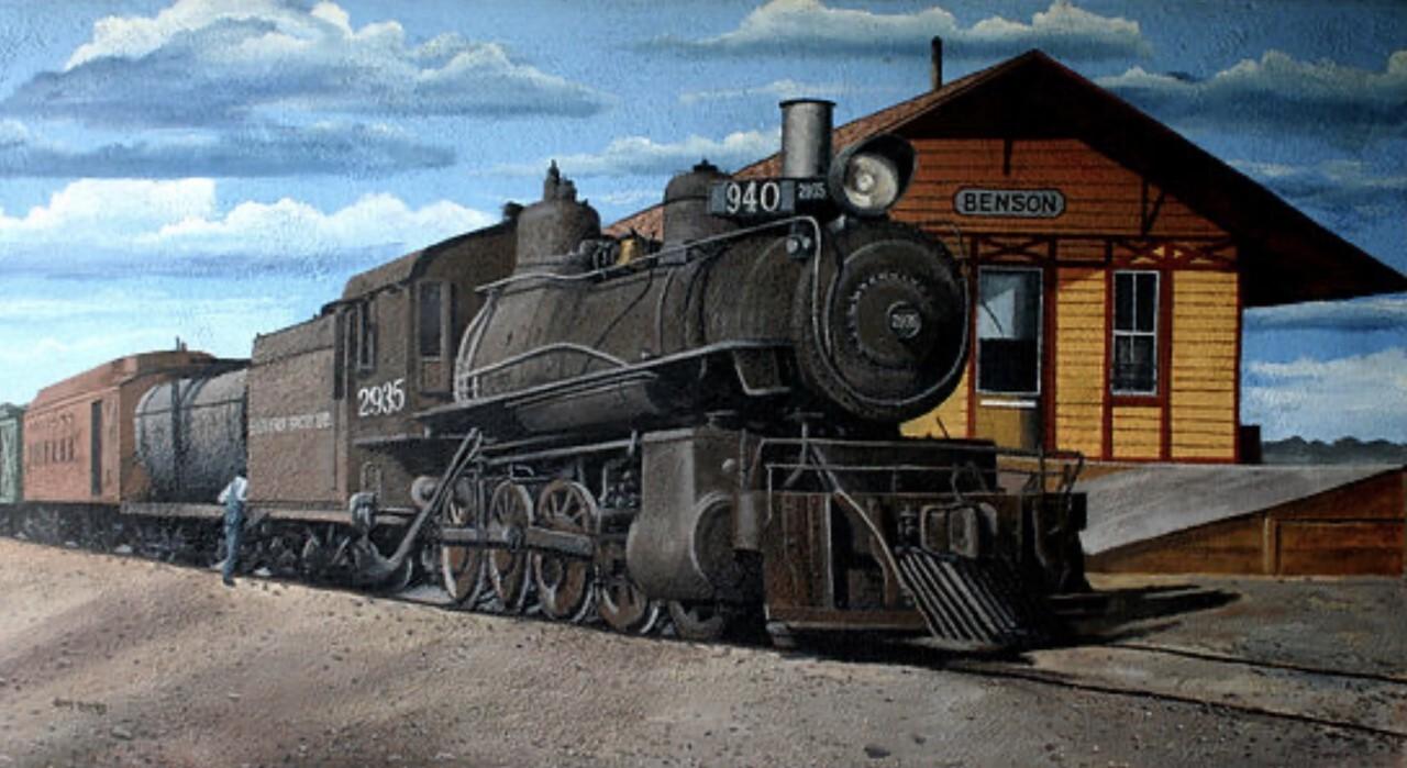 Benson mural of depot