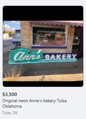 Ann's Bakery original neon sign for sale