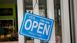 Business We're Open sign