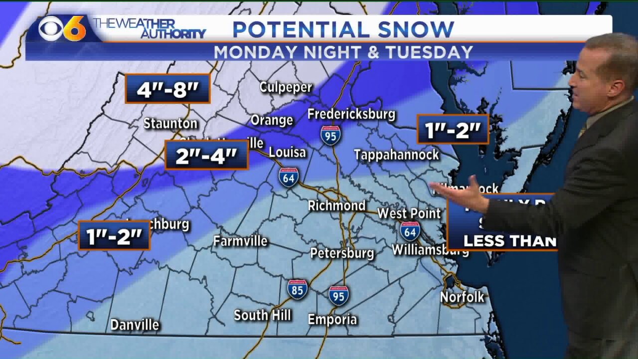 How much snow will fall in Virginia?