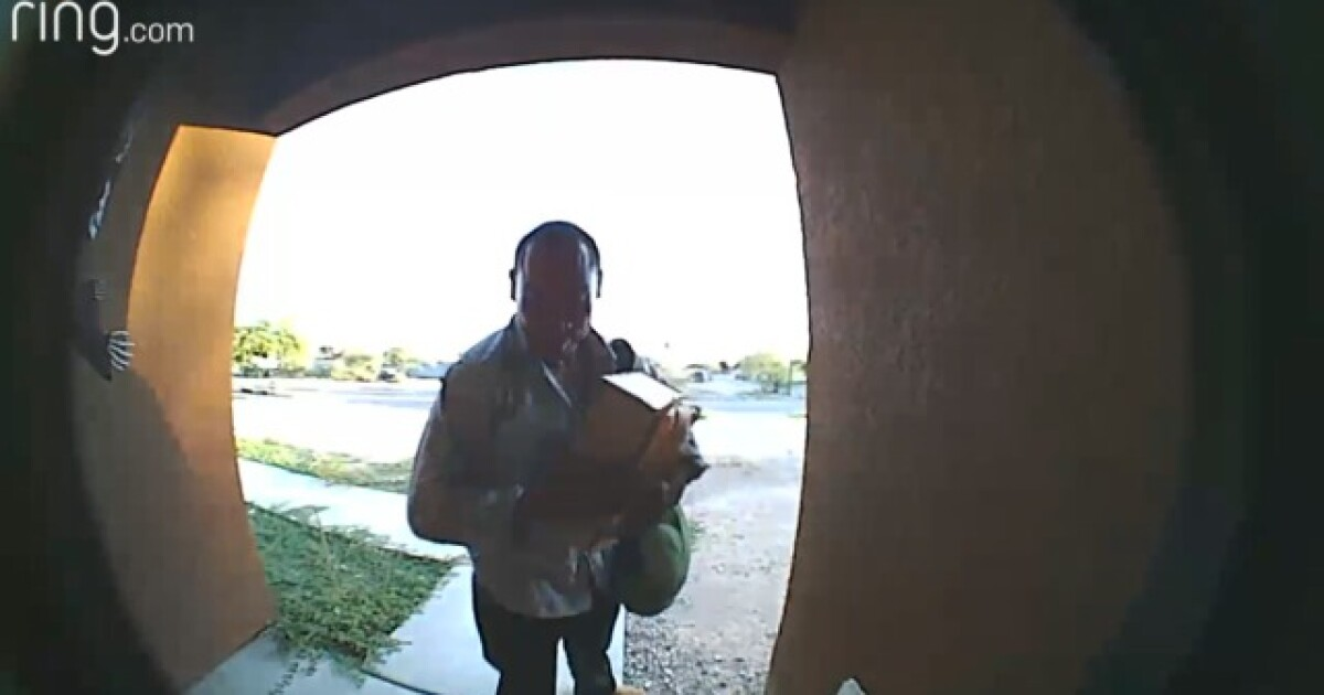 Porch pirate caught on camera in Tucson taking 2 packages