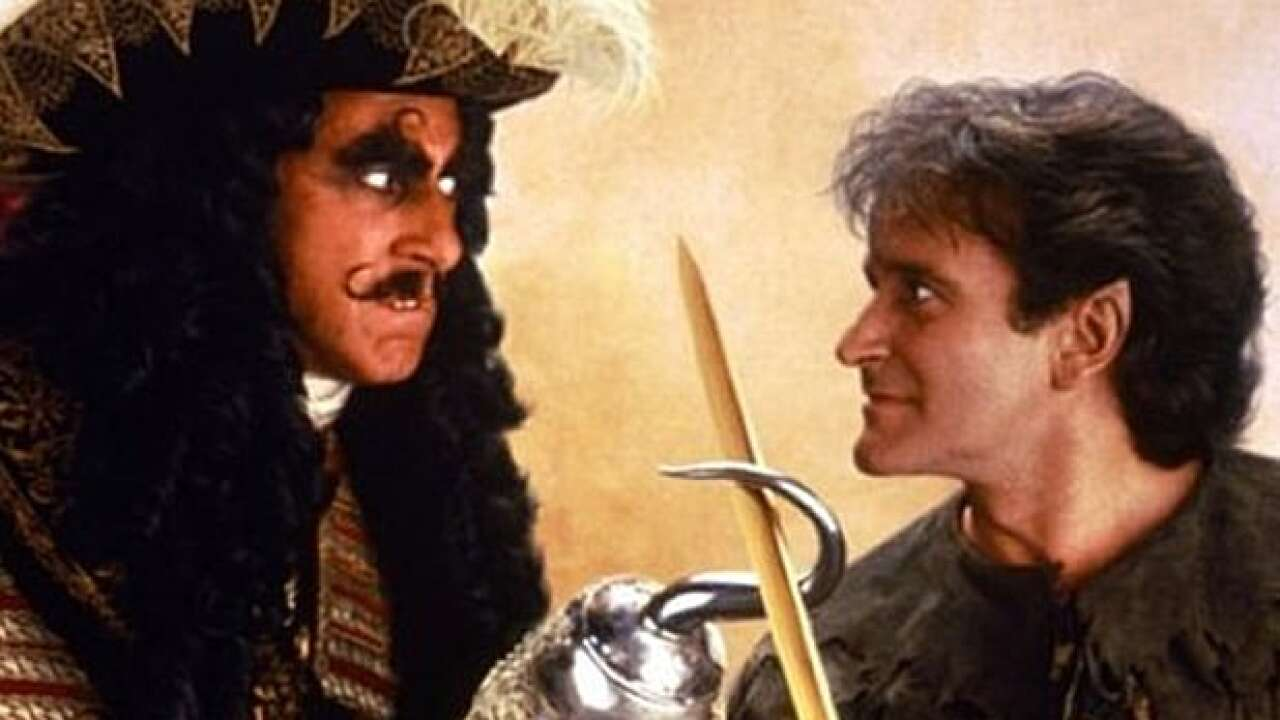 """Dustin Hoffman and Robin Williams star in """"Hook."""" Photo courtesy of Sony Pictures."""
