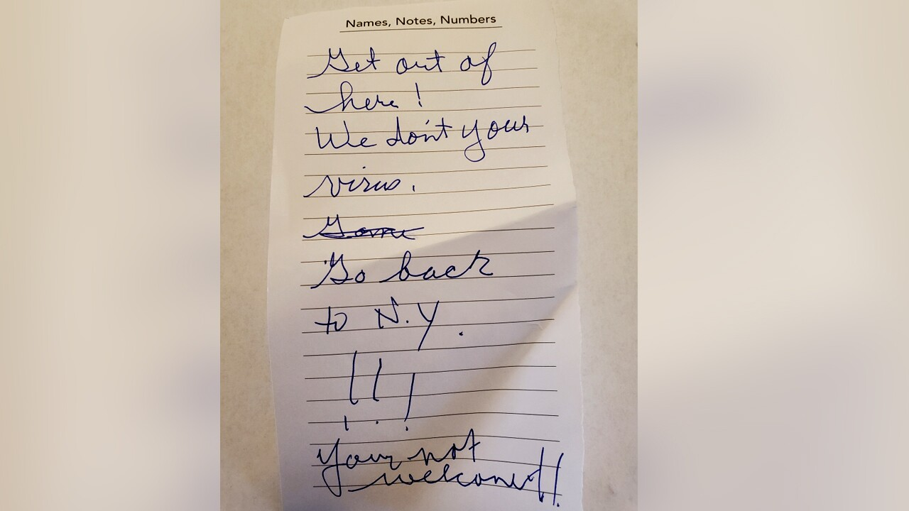 Couple with New York license plate given note: 'We don't want your virus, go back to New York'
