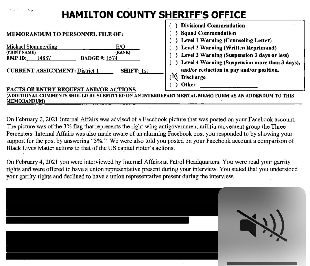 Hamilton County Sheriff's Office investigation report on Michael Stemmerding