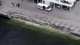 A seawall located behind an apartment building in Hallandale Beach collapsed into the ocean Feb. 21, 2020.
