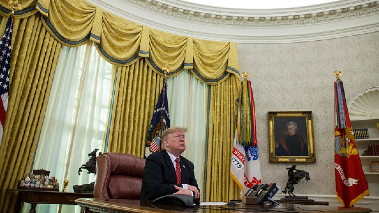 Trump Delivers Christmas Day Message To Troops From Oval Office