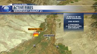 Fast growing fire west of Twin Bridges