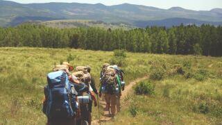 Hiking camping stock photo