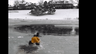 Video extra: Rescuers pull dog from Colorado frozen pond