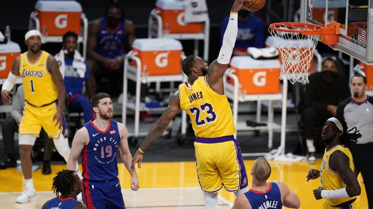 LeBron James Pistons Lakers Basketball