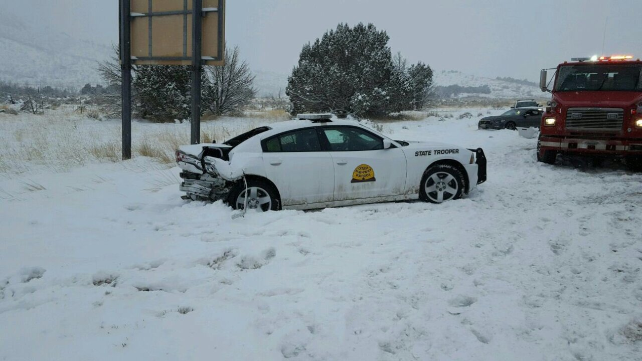 UHP car struck on I-15 in Millard County