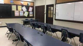 school desks in classroom