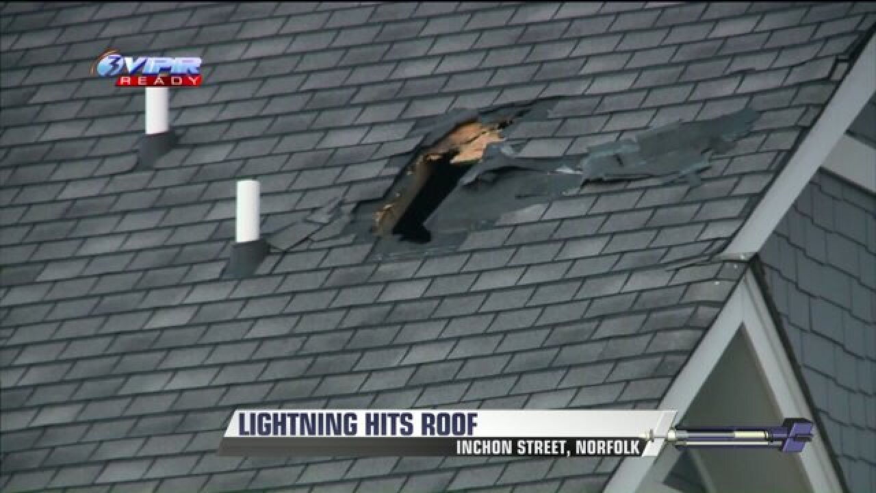 Storms bring down trees; lightning hits Norfolk apartment