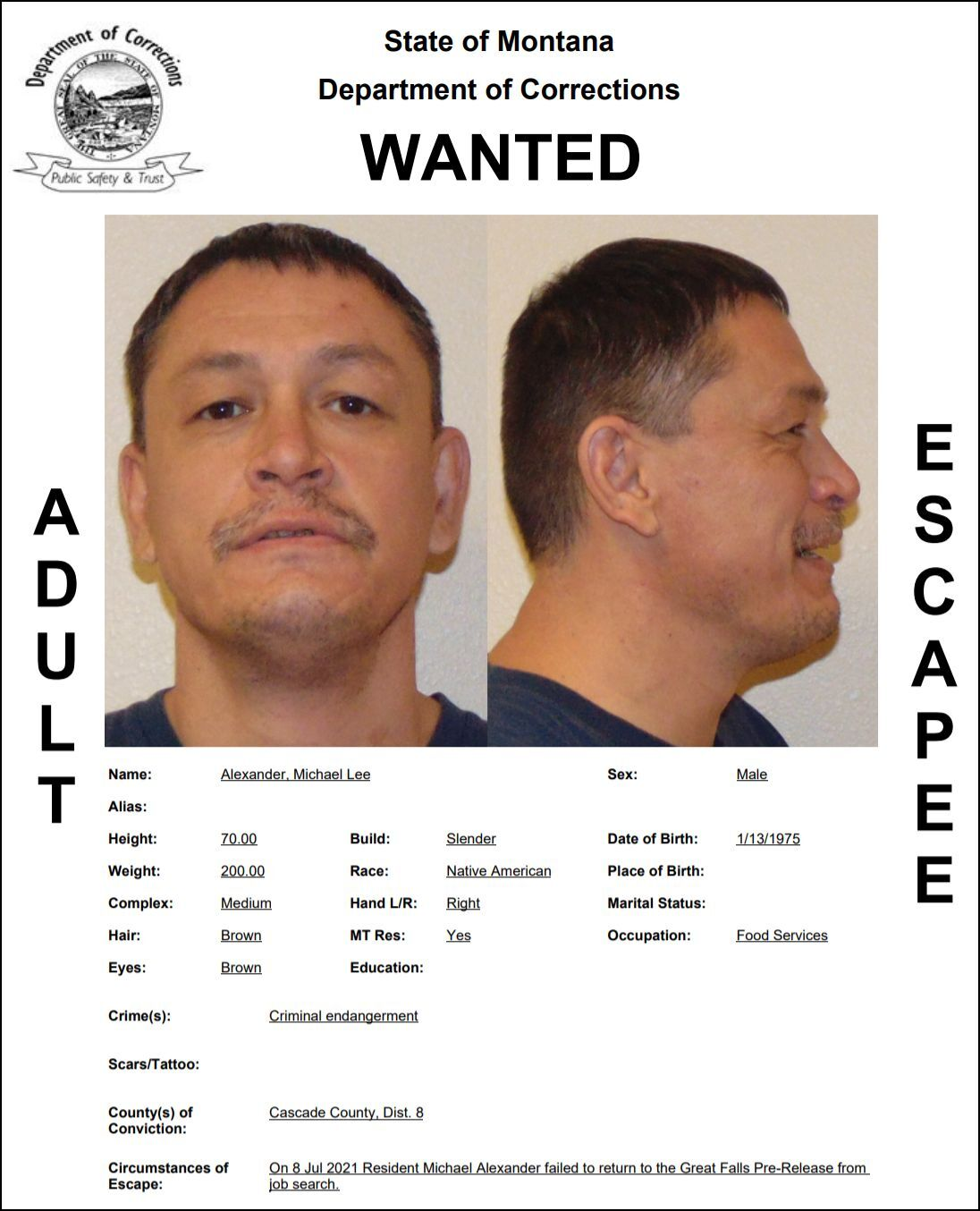Alexander reported as escapee/walkaway from Great Falls Pre-Release Center
