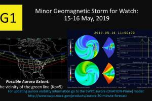 G1 minor geomagnetic storm watch for May 15-16, 2019