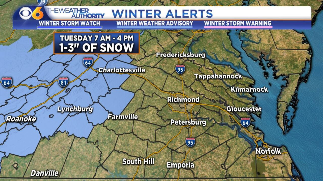 New details on approaching snow and what you can expect Tuesday morning