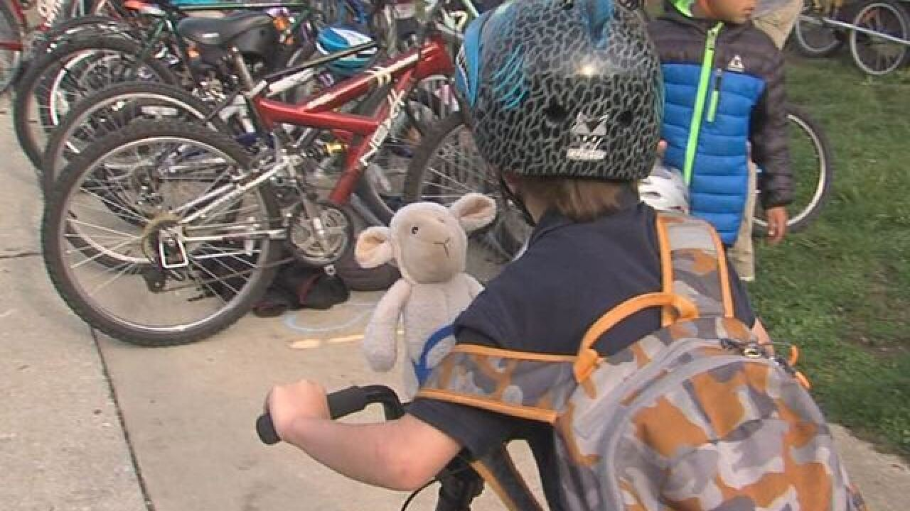 "PHOTOS: Kids celebrate National ""Bike to School"" day"